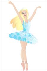Blonde ballerina in snowflake dress