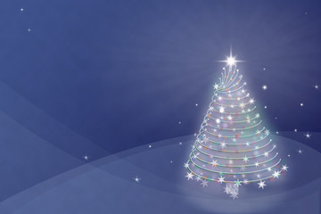 Magic Christmas tree background illustration