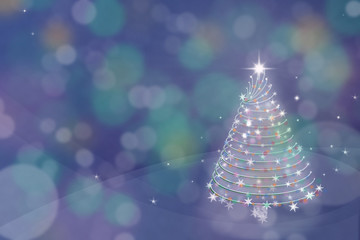 Magic Christmas tree background illustration with colorful bokeh