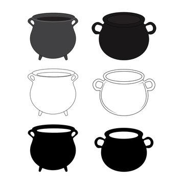 Empty witch cauldron, pot set. Cartoon Vector illustration isolated on white background.