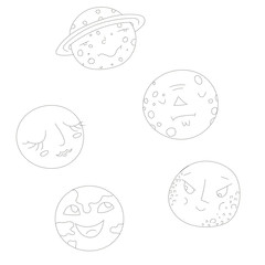 Educational gameconnect the dots to draw planets