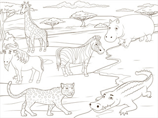 Coloring book educational game  African savannah