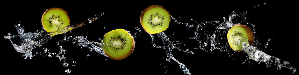 Set of kiwi slices with water splash
