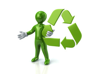 Green man and recycle arrows