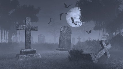 Old scary cemetery with decaing gravestones and bat silhouettes against big full moon. Monochromatic 3D illustration.
