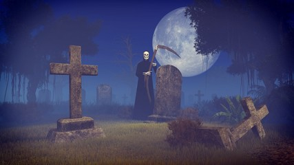 Scary night scene with Grim Reaper at the old abandoned graveyard under big full moon