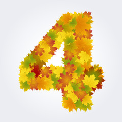 Wall Mural - number 4 of the autumn leaves