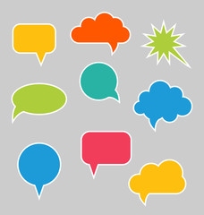 Set of Multicolored Speech Bubbles