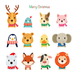 Animals Faces With Neckerchief Set, Merry Christmas, Xmas, Happy New Year, Objects, Animals, Festive, Celebrations