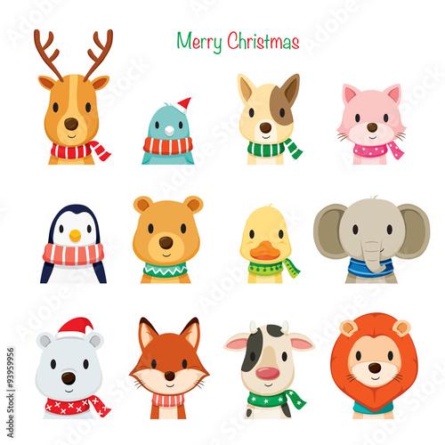 Merry Christmas Animals.Animals Faces With Neckerchief Set Merry Christmas Xmas Happy New
