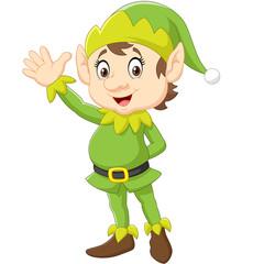 Cartoon Cute Christmas elf waving hand