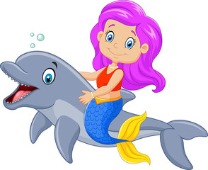 Cartoon funny mermaid swimming with friendly dolphin