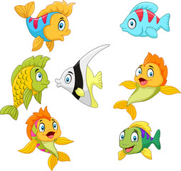 Cartoon fish collection set isolated on white background