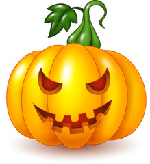 Cartoon Halloween pumpkin isolated on white background