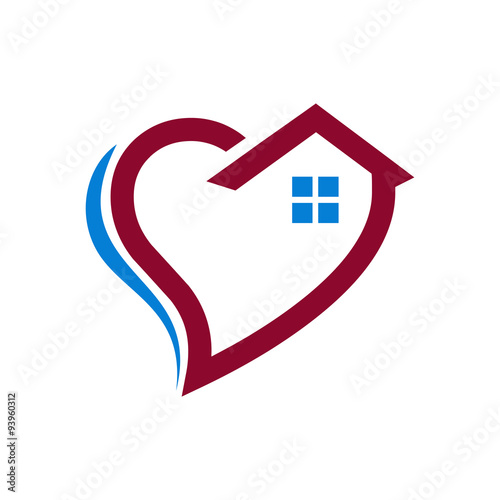 Love Heart House Care Logo Icon Stock Image And Royalty