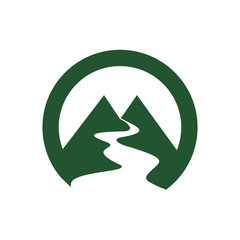 M Mountain and Valley Flat Logo Icon