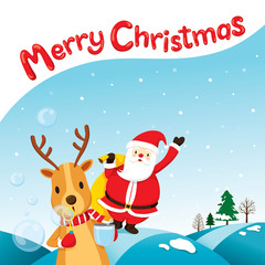 Reindeer Blowing Bubble With Santa Claus, Merry Christmas, Xmas, Happy New Year, Objects, Animals, Festive, Celebrations