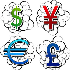 Comic book style currency signs on comic book clouds.