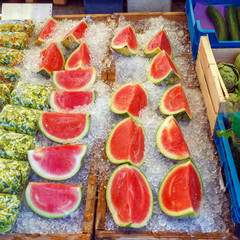 Fresh Sliced Watermelons with Ice at Market, Bruges, Belgium