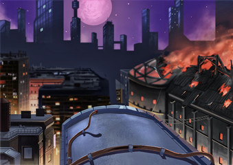 Illustration: The City Night. One Building is On Fire. Story with Fantastic Cartoon Style Scene Wallpaper Background Design.