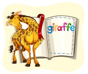 Big giraffe and a book