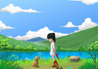 Illustration: Spring: That's Where the Little Girl meet the Little Dog. Story with Fantastic Cartoon Style Scene Wallpaper Background Design.