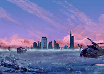 Illustration: Between the City and the Wilderness. Fantastic Cartoon Style Scene Wallpaper Background Design with Story.