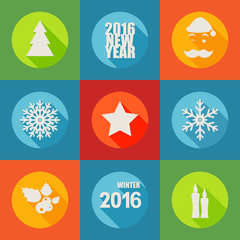 Happy New Year 2016 flat icons set with berry, christmas tree,