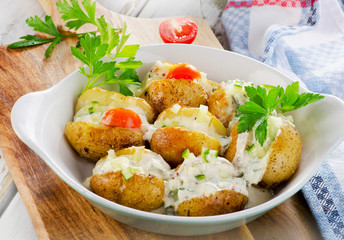 Hot Baked potato with vegetables.