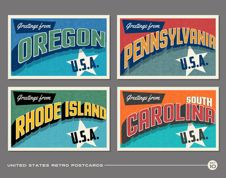 United States vintage typography postcards featuring Oregon, Pennsylvania, Rhode Island, South Carolina