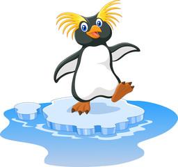 Happy cartoon penguin rockhopper on ice