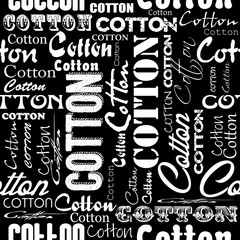 Seamless patterns with cotton flower and fonts.