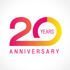 20 anniversary classic logo. The plain ordinary logotype of 20th birthday.