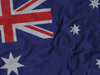 Closeup of ruffled Australia flag