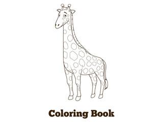 Coloring book giraffe african savannah animal