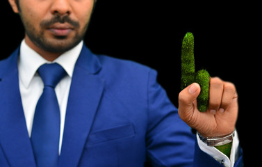 Man pointing green finger photo manipulation
