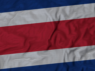 Closeup of ruffled Costa Rica flag