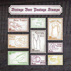 vector set of hand drawn vintage postage stamps on wooden desk