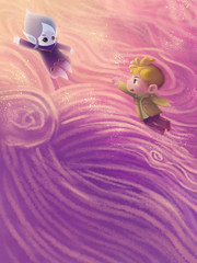 Illustration: The Snow Princess Sleeps. In her dream she become a water drop flying to her world. And the little boy does not want her leave. Fantastic Cartoon Style Scene Wallpaper Background Design.