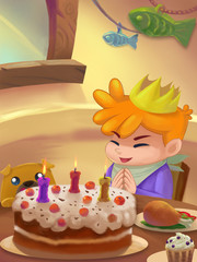 Illustration: Sweet Dinner Room; Table with food. Birthday Cake. Drumstick. Ice cream. Birthday Person. Fantastic Cartoon Style Scene Wallpaper Background Design.