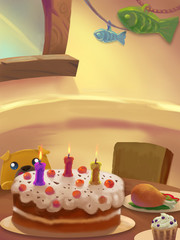 Illustration: Sweet Dinner Room; Table with food. Birthday Cake. Drumstick. Ice cream.Little Greedy dog. Fantastic Cartoon Style Scene Wallpaper Background Design.