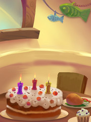 Illustration: Sweet Dinner Room; Table with food. Birthday Cake. Drumstick. Ice cream. Fantastic Cartoon Style Scene Wallpaper Background Design.