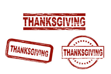 Set of stylized red stamps showing the term thanksgiving