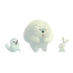 Illustration: North Pole Animals. Fantastic Cartoon Style Character Design.