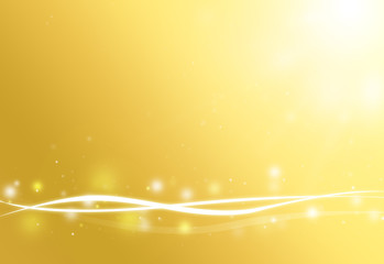 Gold wave and glitter sparkle defocused rays