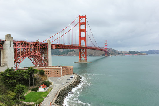 Golden Gate bridge view from the hill in the cloudy day.