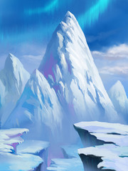 Illustration: Snow Mountain in the North Pole. With Aurora. Fantastic Cartoon Style Scene Wallpaper Background Design.