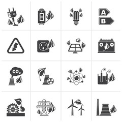 Black Green energy and environment icons - vector icon set