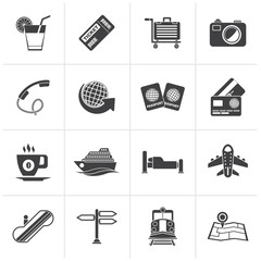 Black Travel and vacation icons - vector icon set