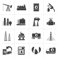 Black Petrol and oil industry icons - vector icon set